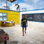 After TC Winston destroyed his village, Luke turned this classroom into an art space. He collected the surrounding debris and used it as his canvas.