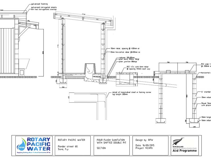 Side section view of pour flush toilet design